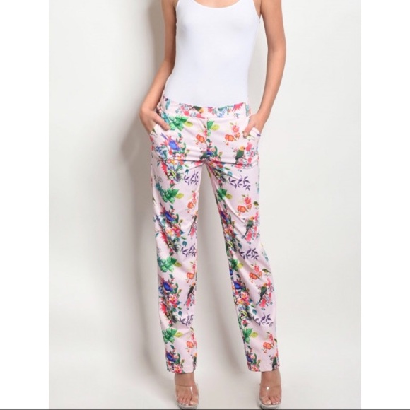 Pink Fitted Waist Floral Print Trousers